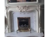 Grande Louis style fireplace marble insets
