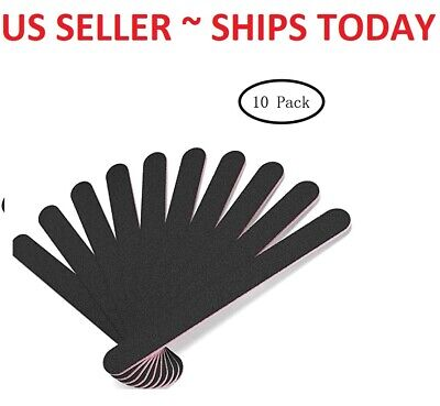 10pcs Pro Black Double Sided Manicure Sanding Nail Art File Buffer Emery Boards