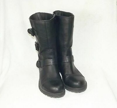 Pair of GUESS High-Top Black Leather Zippered Boots - Size (Guess Ladies Boots)