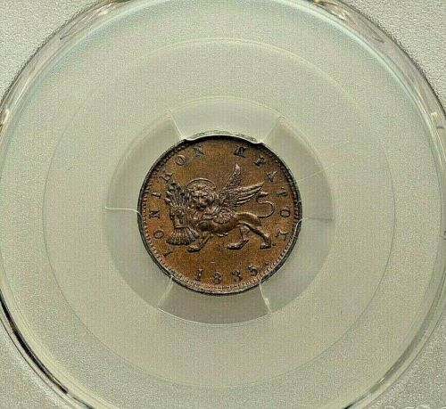 1835 IONIAN ISLANDS COPPER LEPTON PCGS MS-63 BROWN KM34.