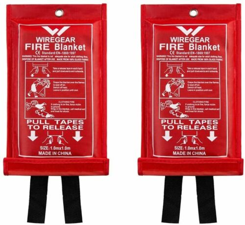 Emergency Fire Blanket Quick Release In Case For Home Office Car [2 pack]