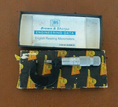 Brown Sharpe 0-1 Micrometer Swiss Made In Original Box