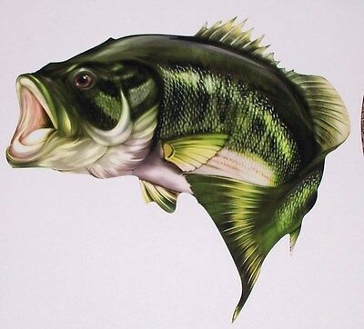 Large Mouth Bass Fish sticker graphic decal window Wall golf cart Fishing Decals