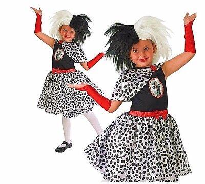 Child 101 DALMATIAN Cruella De Ville Girls Fancy Dress Costume Age 3-8 Dalmation - Cruella Deville Costume Kids