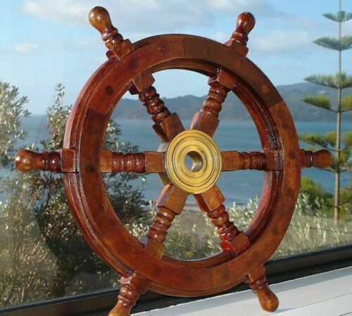 """24"""" Nautical Wooden Boat Ship Large Wooden Steering Wheel Nautical Wall Decor"""