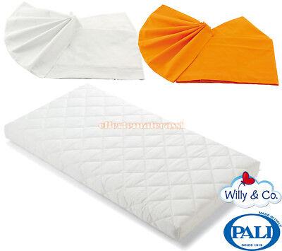 Materassino Pali Evolution + Coppia set di lenzuola Willy & Co bianco arancio