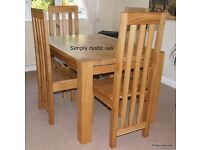 Custom Made Solid Oak Dining Table £800ono - 2m x 1.1m with two extension leaves up to 3m x 1.1m