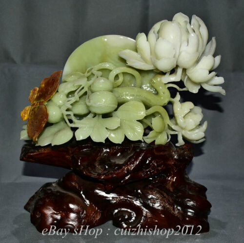"""13"""" Finely Natural Xiu Jade Jadeite Carved peony flower Gourd Base Sculpture"""