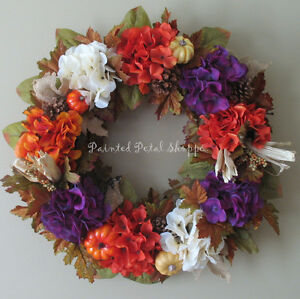 Autumn Hydrangea Wreath/Plum/Burnt Orange/Fall Decor