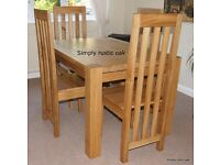 Solid Oak Dining Table - 2m x 1.1m with two extension leaves up to 3m x 1.1m