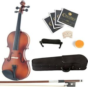 Mendini 4/4 MV300 Solid Wood Satin Violin with Hard Case
