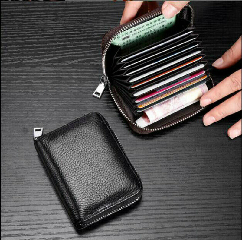 Women Men Wallet Credit Card Holder Genuine Leather RFID Blo