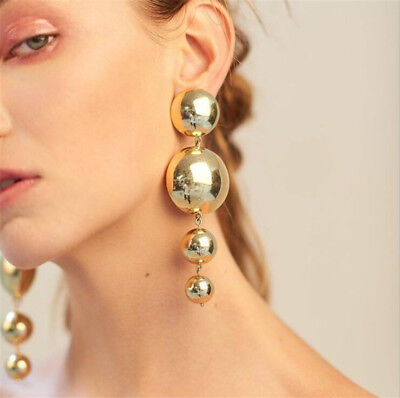 Fashion Women Bling Ball Earrings Long Chain Drop Dangle Earrings Charm Jewelry Ball Dangle Earrings Jewelry