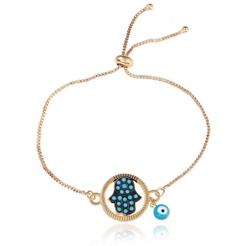 Women Charm Hand Eye Drops Glaze Gold Plated Bracelet Adjust