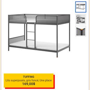 Lit superposé Ikea TUFFING et 2 matelas MOSHULT