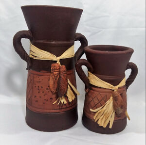 Brown Jugs 16 in High and 12 in High Native Style Clay Jugs