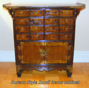 Korean Cabinet, imported, all wood, 16 drawers+ 2 door storage