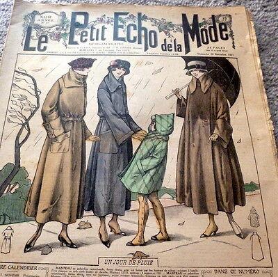 *VTG 1920s PARIS FASHION & SEWING PATTERN CATALOG LE PETIT ECHO de la MODE 1921