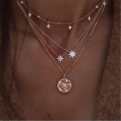 Fashion Women Multilayer Gold Choker Star Crystal Chain Pendant Necklace Jewelry
