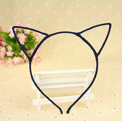 Black Cute Women Girl Wire Cat Ear Material Hairband  Fun Dress Up Halloween UK ()