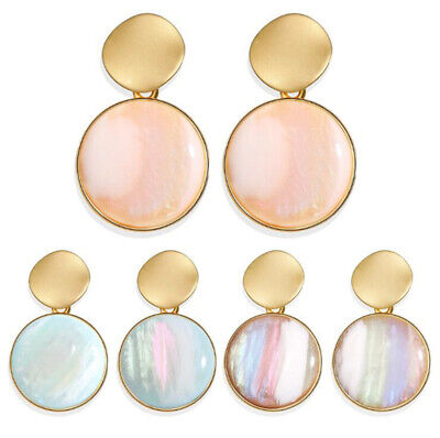 Boho Geometric Acrylic Statement Earrings Fashion Hoop Resin Dangle Women Summer