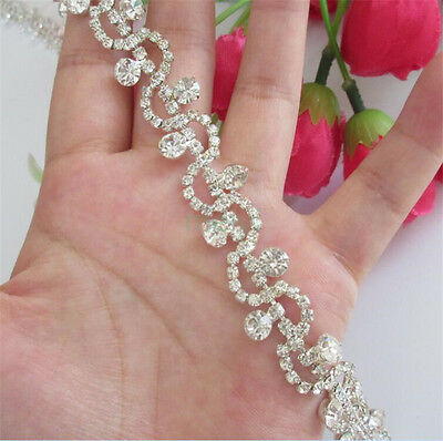10cm Diamante Diamond Trim Crystal Bridal Applique Wedding Beaded Chain Ribbon Diamond Trim