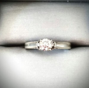 Diamond solitaire Engagement Ring 14ct White gold