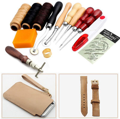 13Pcs Set Leather Craft Hand Stitching Sewing Tool Thread Awl Waxed Thimble Kit