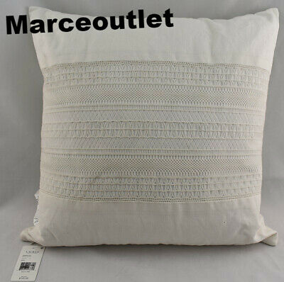 """Ralph Lauren Devon Crochet Lace Appliqué 18"""" Square Decorative Pillow Cream"""