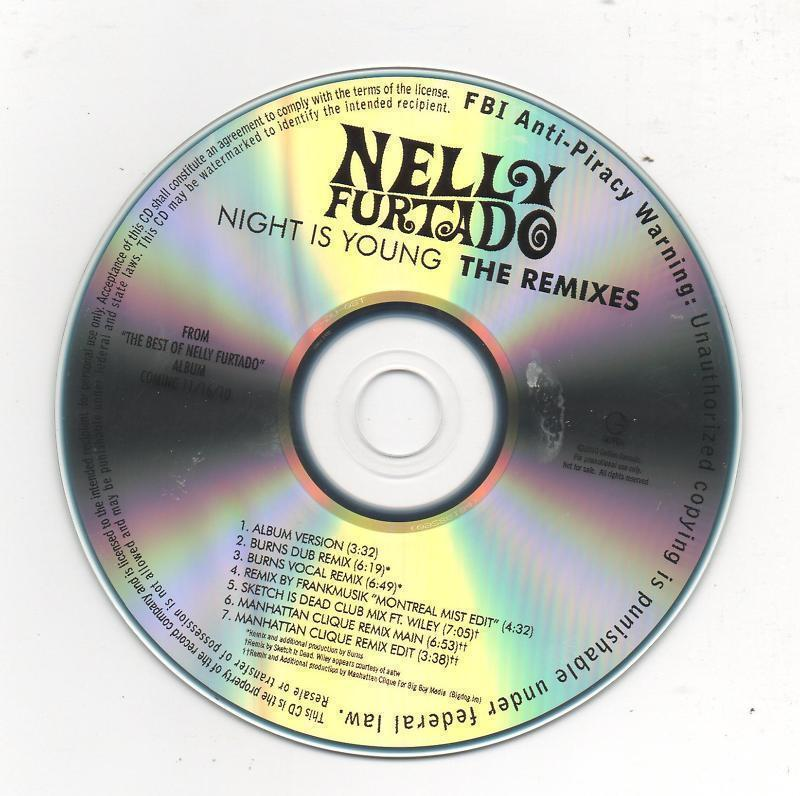 Nelly Furtado Night is Young 2010 Promo Pack CD 2 Disc Plus Rare Buttons/Pins