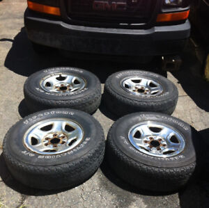 4-Firestone Destination A/T 245/75/16 M&S Tires & GMC/Chev Rims