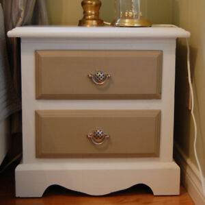 Bedside Table. Two Drawers. Refinished, shabby chic, two-tone