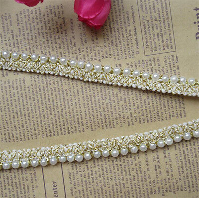 1 yd Vintage Embroidered Pearl Lace Edge Trim Wedding Ribbon Applique DIY Sewing - Vintage Ribbon