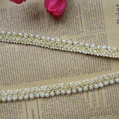 1 yd Vintage Embroidered Pearl Lace Edge Trim Wedding Ribbon Applique DIY - Vintage Ribbon