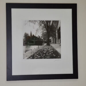 Black and white photograph of canal