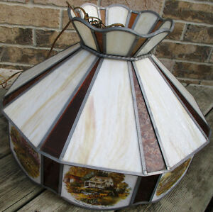 Antique Currier & Ives Ceiling Lamp Stain Glass Shade Dia. 20.5""
