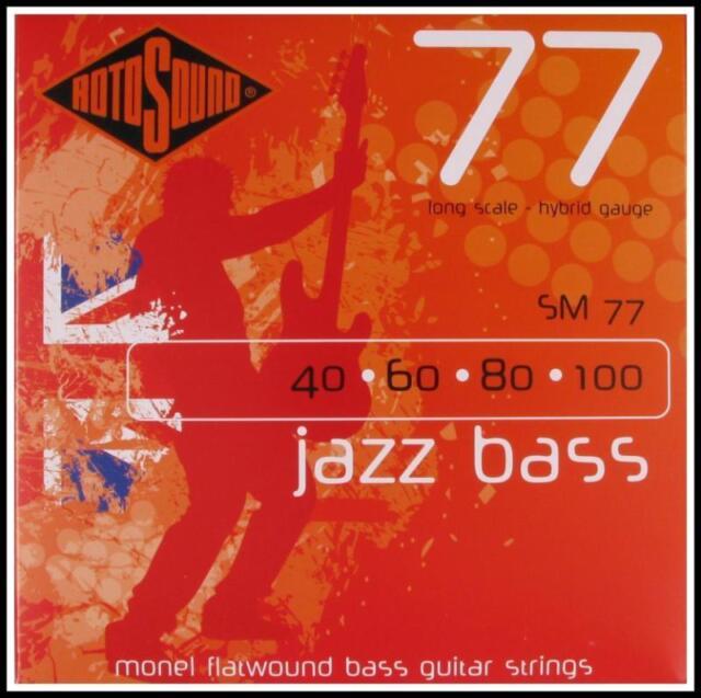 RotoSound Jazz Electric Bass Guitar Strings Monel Flatwound Hybrid 40 - 100 SM77