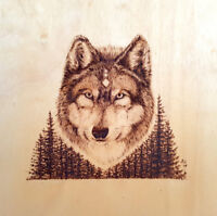 Selling my original artwork WOLF woodburning