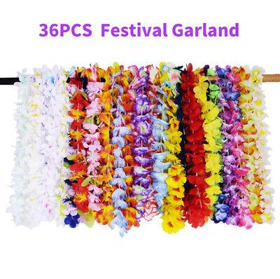 Hawaiian Luau Costumes (36× Hawaiian Flower Hula Lei Garland Necklace Luau Party Costumes Wedding)