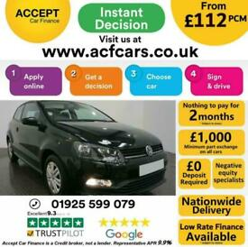 image for 2016 BLACK VW POLO 1.0 60 S PETROL MANUAL 3DR HATCH CAR FINANCE FR £112 PCM