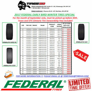 2017 FEDERAL EARLY BIRD WINTER TIRE SPECIAL