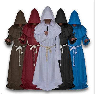 Mönch Kostüm (Mönch Mönchskutte Kostüm Herren Robe Pfarrer Mönchsrobe Ordensbruder Halloween)