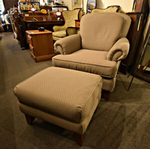 LOVELY NEAR NEW DECOREST CHAIR WITH OTTOMAN AT CHARMAINE'S