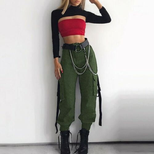 Women Straight Tapered Pants Chains Ribbon Overall Trousers Pockets Streetwear B