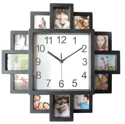 FAMILY LOVE PICTURE MODERN WALL CLOCK 12 MULTI PHOTO APERTURE FRAME HOME DECOR