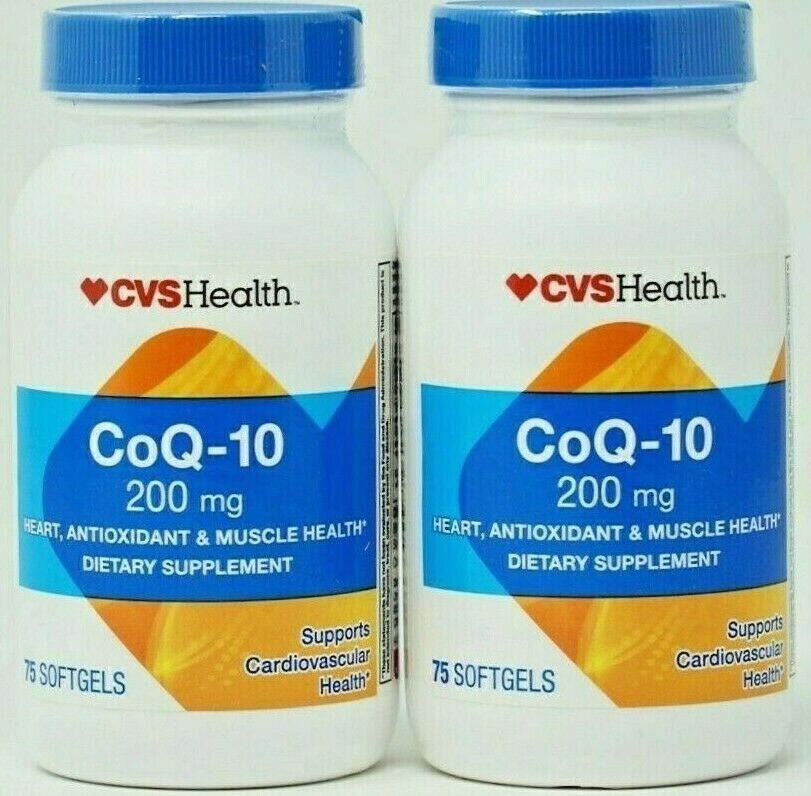Lot of 2 CVS Co Q-10 200 mg 150 TOTAL Softgels EXP 06/2020