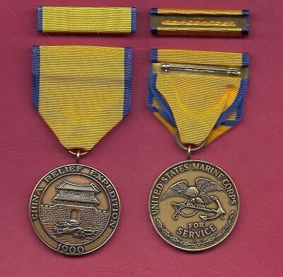 USMC China Relief Expedition medal with ribbon bar 1900