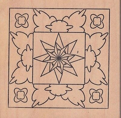 """star cloud tile outlines Wood Mounted Rubber Stamp  2 1/2 x 2 1/2"""" Free Shipping"""