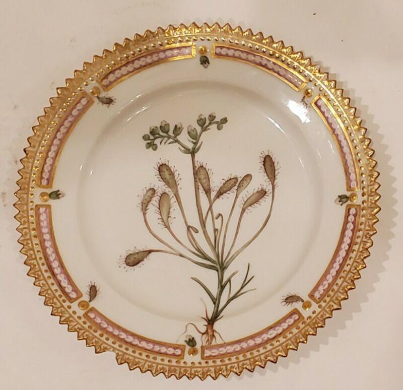 "Royal Copenhagen Flora Danica Serrated Antique Plate 5.5"" Drosera intermedia"