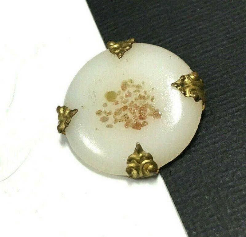Vintage Victorian Speckled White VENETIAN GLASS Brooch Pin Brass Cameo  zz68e
